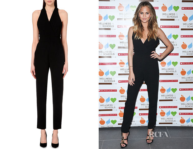 Chrissy Teigen's Maje 'Palacio' Cross-Back Jumpsuit
