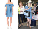 Dakota Fanning's Alexa Chung for AG Honey Ruffle Denim Dress