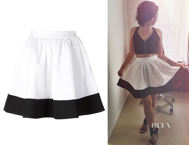 "Demi Lovato's ""Comeforbreakfast"" Colour Block Pleated A-Line Skirt"
