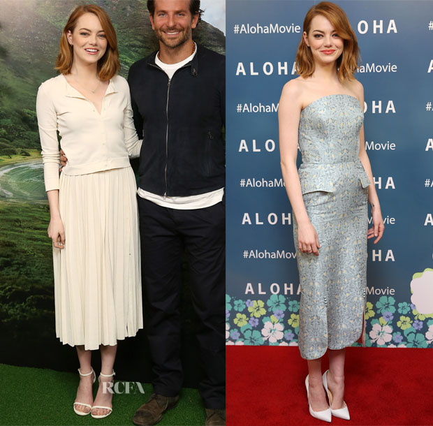 Emma Stone In Brook Collection &  Ulyana Sergeenko Couture - 'Aloha' Photocall & Premiere