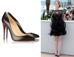 Emma Stone's Christian Louboutin 'Pigalle Follies' Leather Pumps