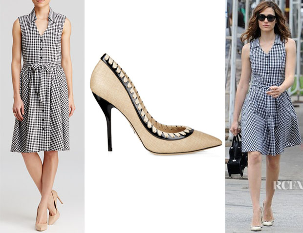 Emmy Rossum's AQUA Gingham Sleeveless Shirt Dress And Paul Andrew 'Petra' Raffia Pumps
