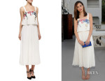 Emmy Rossum's Elle Sasson 'Luana' Embroidered Pleated Silk Dress
