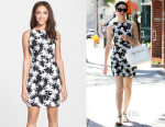 Emmy Rossum's Nicole Miller Palm Jacquard Knit Cutout Sheath Dress
