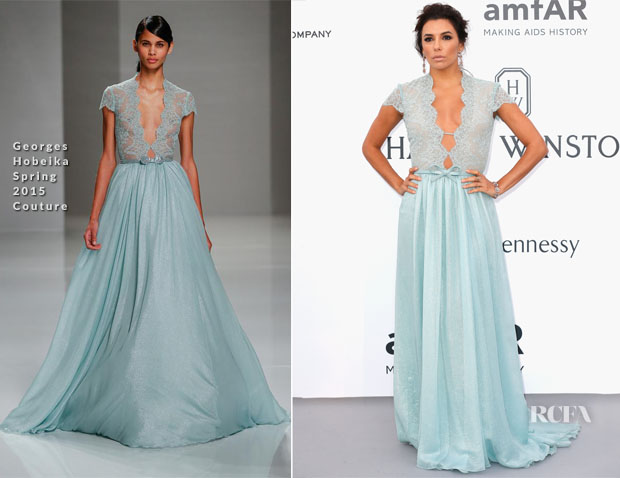 Eva Longoria In Georges Hobeika Couture - 2015 amfAR Cinema Against AIDS Ga