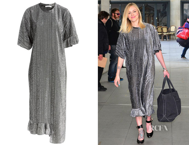 Fearne Cotton's Julien David Metallic Dress with Asymmetric Hem