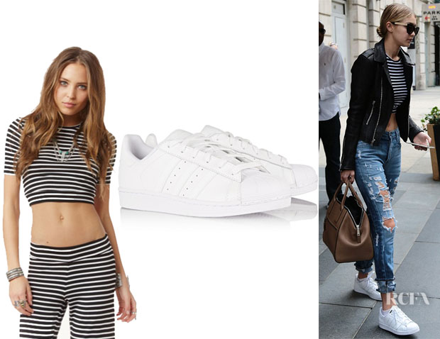 Gigi Hadid's Blue Life Short Sleeve Crop Top And Adidas Originals 'Superstar' Leather Sneakers