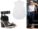 Gwyneth Paltrow's Stella McCartney Ruffled Cotton Shirt And Pierre Hardy Leather Sandals