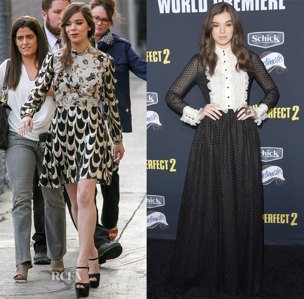 Hailee Steinfeld In Creatures of the Wind & Dolce & Gabbana - Jimmy Kimmel Live & 'Pitch Perfect 2' LA Premiere