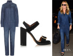 Heidi Klum's Closed Denim Jumpsuit And Givenchy Buckled Sandals