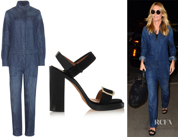 85a773ef1ee Heidi Klum s Closed Denim Jumpsuit And Givenchy Buckled Sandals ...