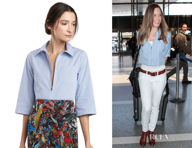 Hilary Swank's Alice + Olivia	'Diana' Zip-Front Cropped Shirt