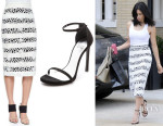Jenna Dewan-Tatum's A.L.C. 'Della' Striped Netted Pencil Skirt And Stuart Weitzman 'Nudist' Sandals