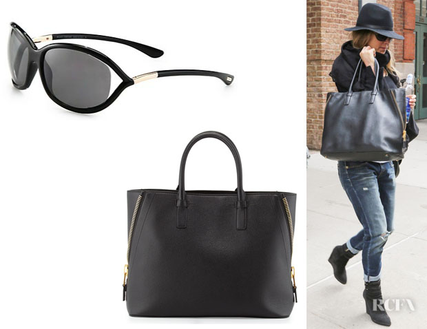 Jennifer Aniston's Tom Ford 'Jennifer' Sunglasses And Tom Ford 'Jennifer' Tote