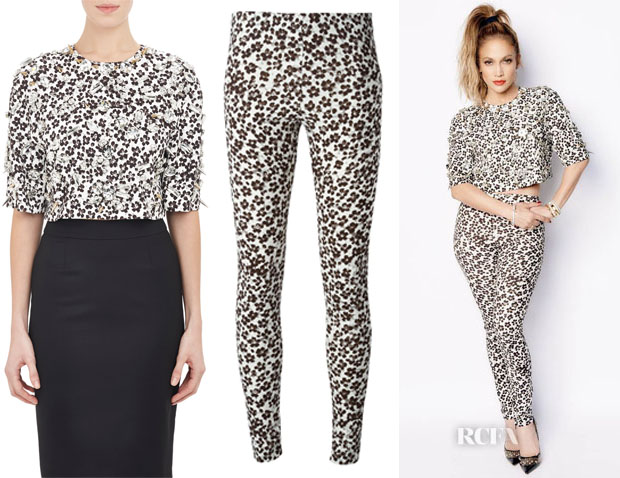Jennifer Lopez' Emanuel Ungaro Crop Top And Emanuel Ungaro Floral Print Trousers