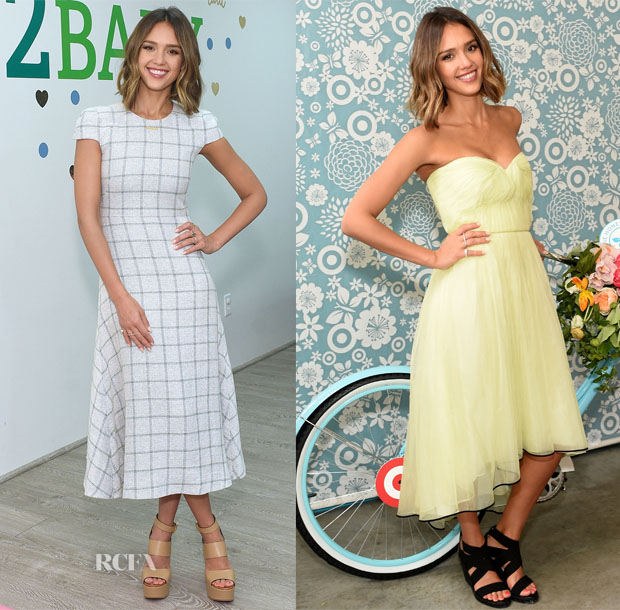 Jessica Alba In Wes Gordon & Monique Lhuillier - Tiny Prints And Baby2Baby Mother's Day Party & The Honest Company At Target One-Year Anniversary