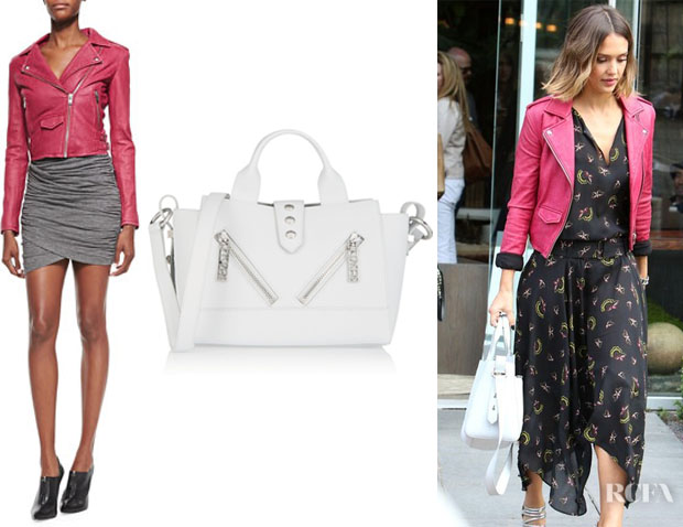 Jessica Alba's IRO 'Ashville' Leather Moto Jacket And Kenzo 'Kalifornia' Tote