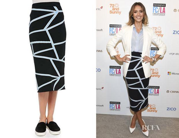 Jessica Alba's Jonathan Simkhai Intarsia Knit Geometric-Print Pencil Skirt