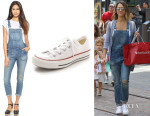 Jessica Alba's Madewell Skinny 'Adrian' Wash Overalls And Converse 'Chuck Taylor All Star' Sneakers