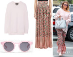 Jessica Alba's Rag & Bone 'Valentina' Cashmere Sweater, The Great. 'The Opera' Skirt And Sunday Somewhere 'Soelae' Sunglasses
