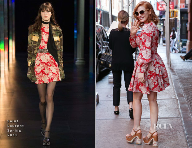 Jessica Chastain In Saint Laurent - Out In New York