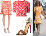 Kerry Washington's Tanya Taylor 'Robin' Jacquard Knit Sweater, Tanya Taylor 'Maia' Jacquard Knit Skirt And Christian Louboutin 'True Blue' Python Pumps