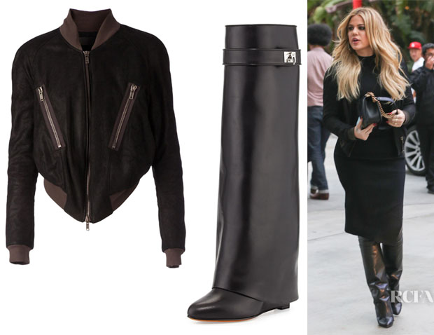 Khloe Kardashian's Haider Ackermann 'Stylidium' Leather Bomber Jacket And Givenchy Shark Lock Knee-High Boots