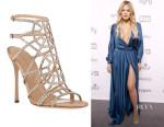 Khloe Kardashian's Sergio Rossi Embellished Puzzle Caged Sandals