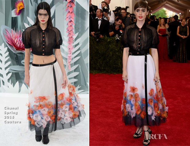 Lily Collins In Chanel Couture - 2015 Met Gala