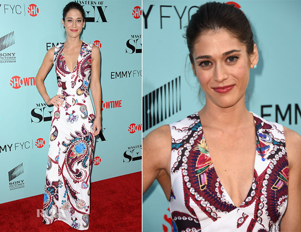 Lizzy Caplan In Mary Katrantzou - 'Masters Of Sex' LA Screening