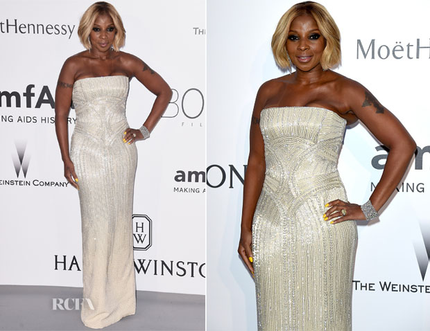 Mary J Blige In Versace - 2015 amfAR Cinema Against AIDS Gala