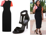 Mindy Kaling's Roksanda 'Turnham' Colour-Block Dress And Tamara Mellon 'Mirage' Sandals