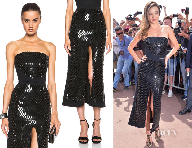Miranda Kerr's David Koma Mirror And Crystals Embroidered Bustier And David Koma Front Split Mirror And Crystals Embroidered Skirt