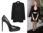 Nicola Peltz' Saint Laurent Wool-Crepe Blazer And Saint Laurent 'Janis' Pumps