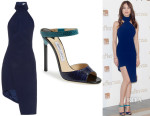 Olga Kurylenko's Mugler Asymmetric Halterneck Crepe Dress And Jimmy Choo 'Deckle' Sandals