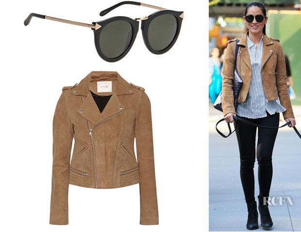 Olivia Munn's Maje 'Basalt' Suede Biker Jacket And Karen Walker Eyewear 'Harvest' Sunglasses