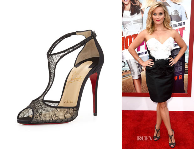 Reese Witherspoon's Christian Louboutin 'Tiny' Lace T-Strap Sandals copy