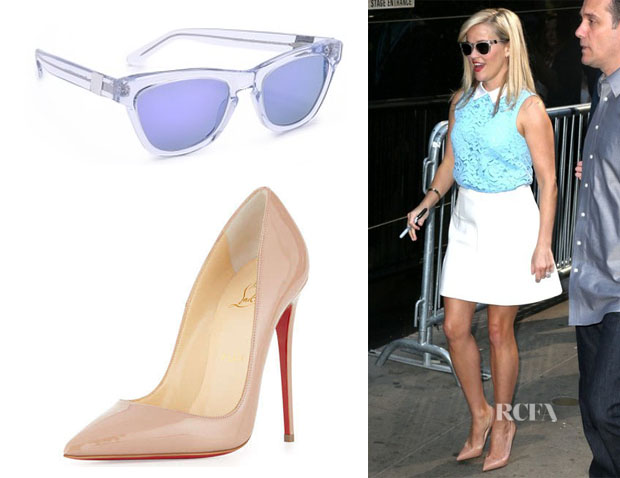 Reese Witherspoon's Westward Leaning 'Pioneer 7' Sunglasses And Christian Louboutin 'So Kate' Pumps