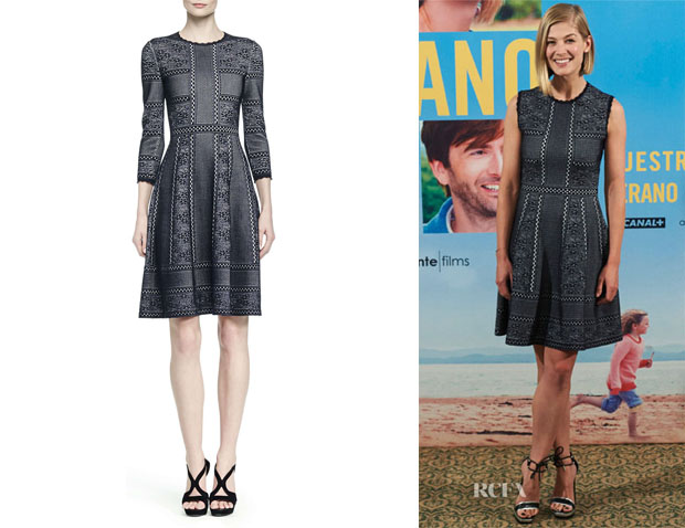 Rosamund Pike's Alexander McQueen Mixed-Print Full-Skirt Dress