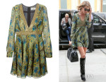 Rosie Huntington-Whiteley's Saint Laurent Peacock Print Skater Dress