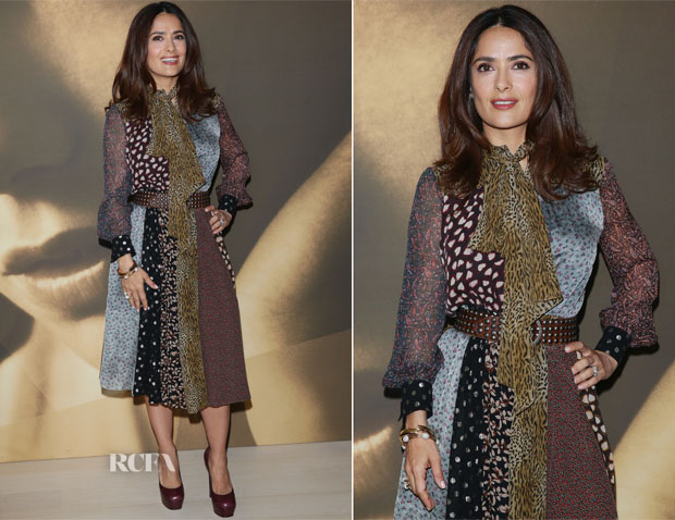 Salma Hayek In Saint Laurent - Kering Talks Women In Motion