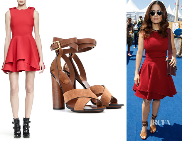 Salma Hayek's Alexander McQueen 'Scuba' Fit-and-Flare Dress And Gucci Leather And Suede Sandals