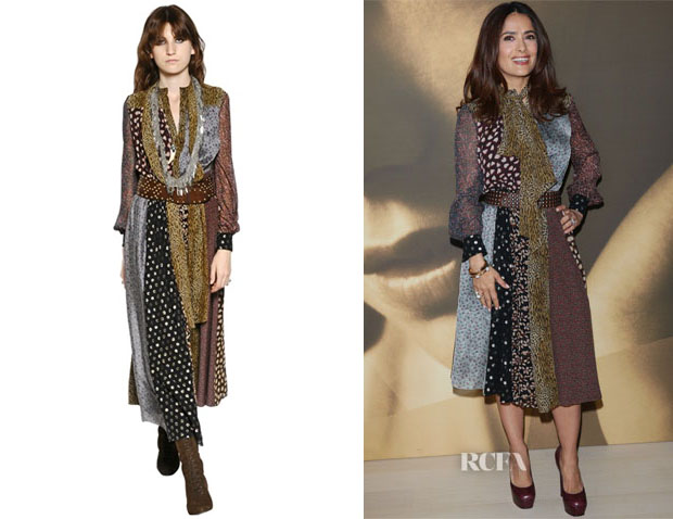 Salma Hayek's Saint Laurent Silk Patchwork Maxi Dress