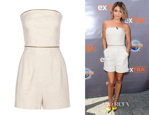 Sarah Hyland's Tamara Mellon Cotton And Linen-Blend Playsuit