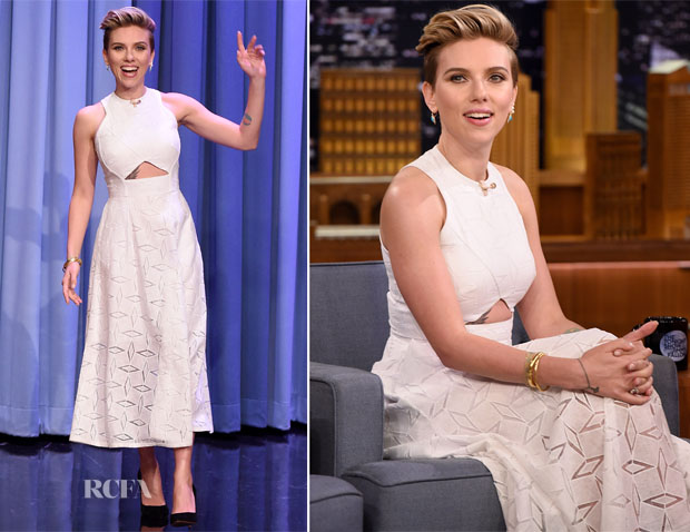 Scarlett Johansson In Jonathan Simkhai - The Tonight Show