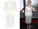 Sienna Miller's Balenciaga Cross-Front Diamond-Embroidered Dress
