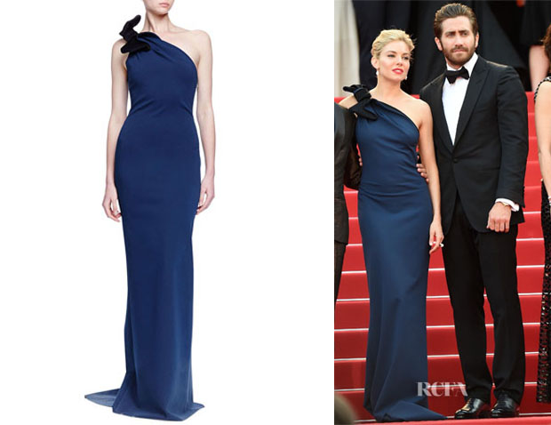 Sienna Miller's Lanvin One-Shoulder Bow-Detailed Column Gown