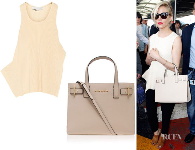 Sienna Miller's Stella McCartney Asymmetric Ribbed-Knit Top And Kurt Geiger London Tote