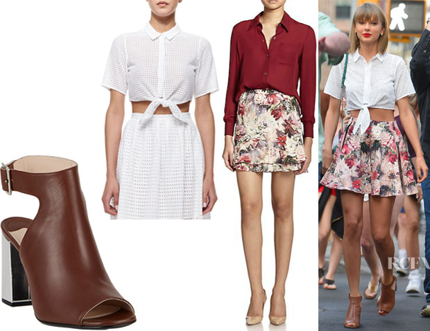 Taylor Swift's MICHAEL Michael Kors Mini Circle Eyelet Crop Blouse, Haute Hippie Silk Floral-Print Skirt And Prada Peep-Toe Sandals