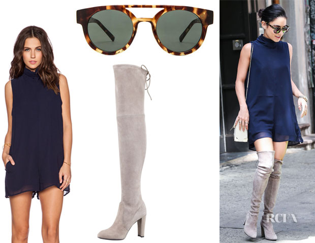 Vanessa Hudgens' One Teaspoon 'Dynasty' Suit Romper, Komono 'Dreyfuss' Sunglasses And Stuart Weitzman 'Highland' Boots